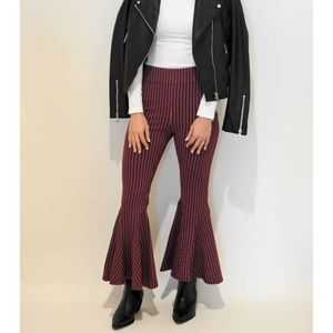 Free People High Rise Striped Flare Pants